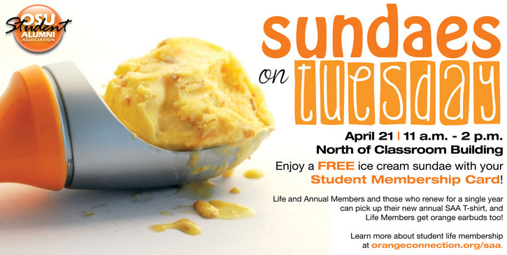 Student Invited to Sundaes on Tuesday April 21