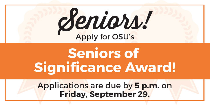 Senior Award Applications Due Sept. 29.